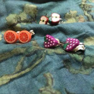 Fruit shaped clip on earrings lot